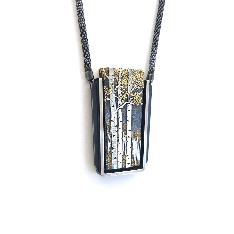 Aspen Trees Rectangular Necklace The