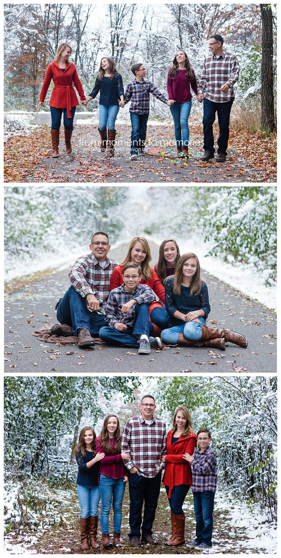 winter family pictures after the snowfall at woodland trails park in elk river, minnesota