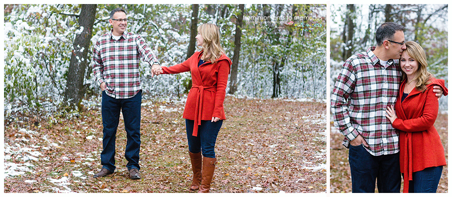married couple holding hands at woodland trails park in elk river, minnesota in the snow
