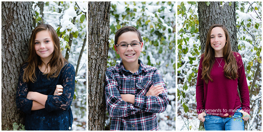 children winter portraits against trees, woodland trails park, elk river