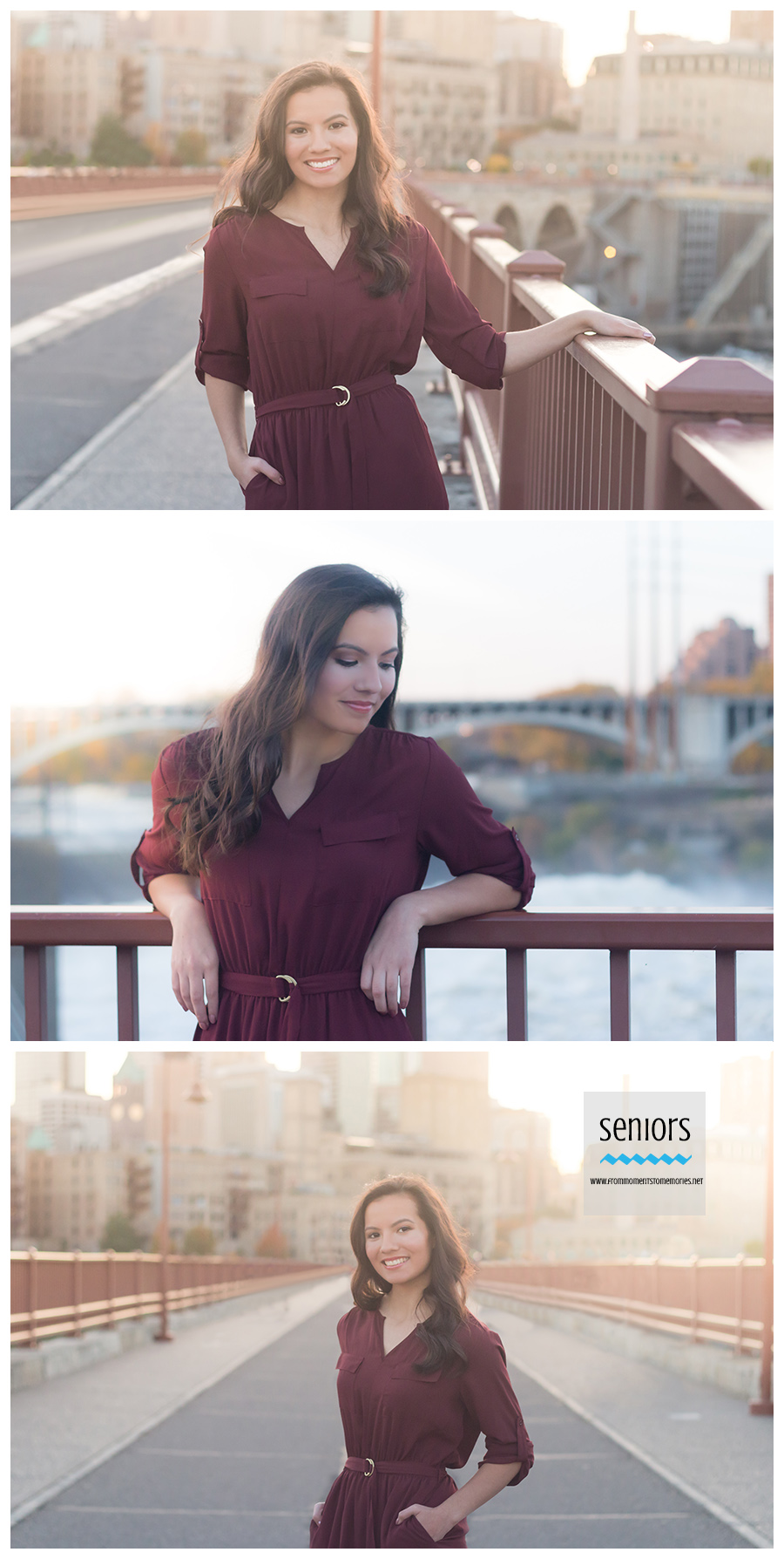 Senior girl standing on Stone Arch Bridge in Downtown Minneapolis for photos