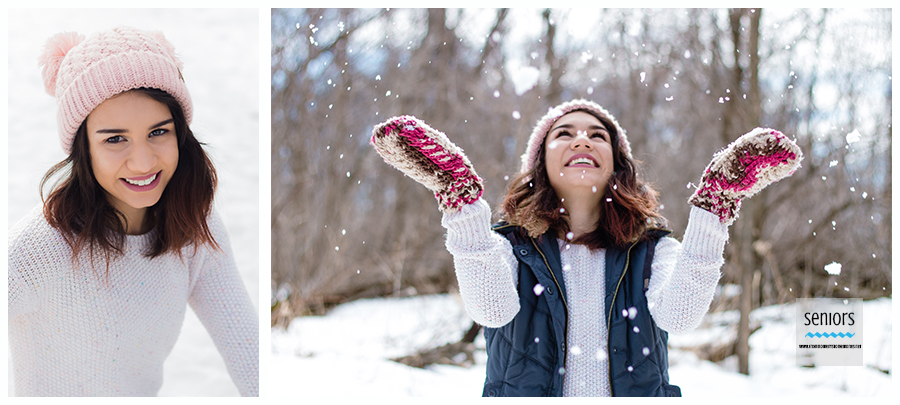 high school senior girl taking winter portraits at woodland trails park in elk river