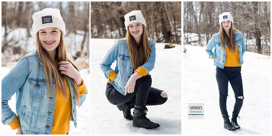 fun winter senior session girl with i love my melon hat on in snow at a park in elk river