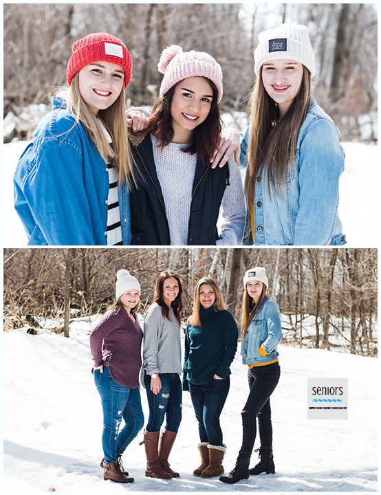 Group of teenaged girls getting their senior pictures taken in winter at a park