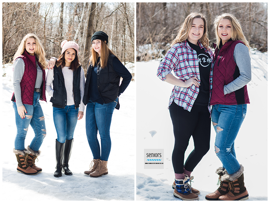 teenage girls in a winter senior group photo session at a park in elk river minnesota