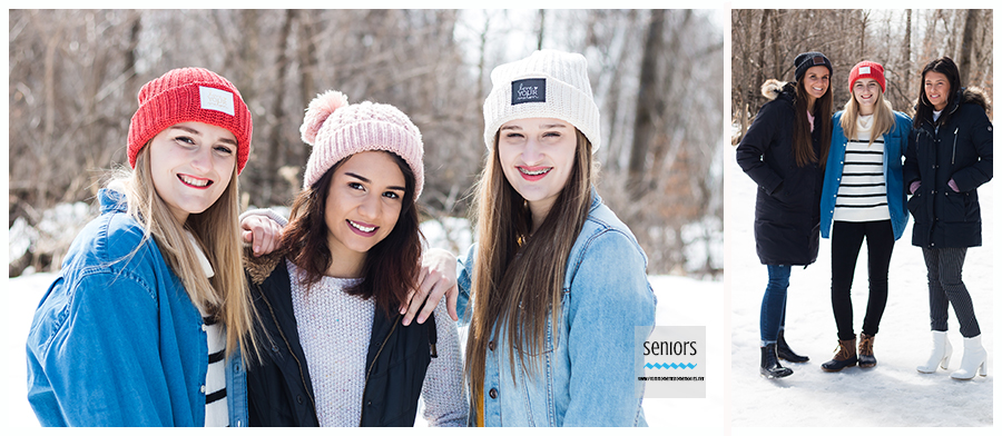 group of teenaged girls getting their senior photos taken in winter at a park in minneapolis