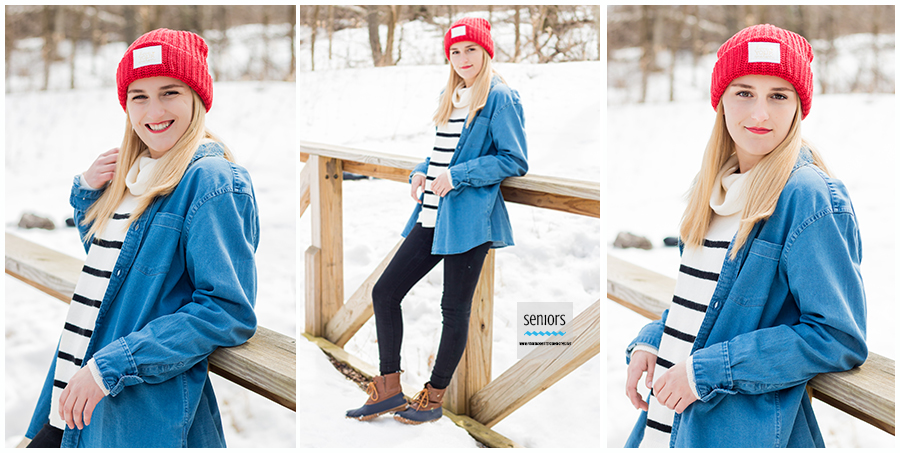 winter senior girl photos at woodland trails park in elk river, minnesota