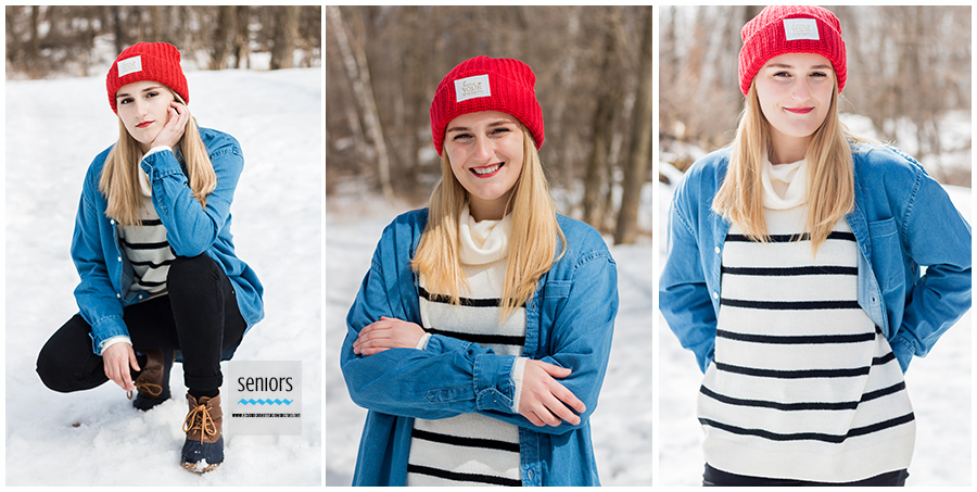 winter senior portraits taken at woodland trails park in elk river