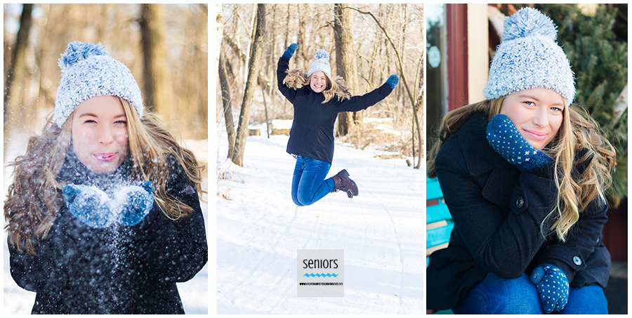 teenaged girl having her senior pictures taken in elk river in winter