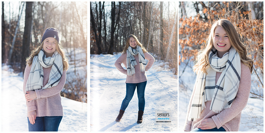 teenager in winter clothing getting her senior portraits taken in the winter at woodland trails park in elk river