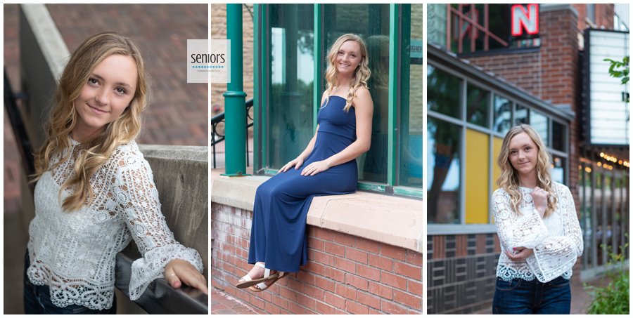 Teenage girl getting senior portraits taken in by the River Place in Saint Anthony Minnesota