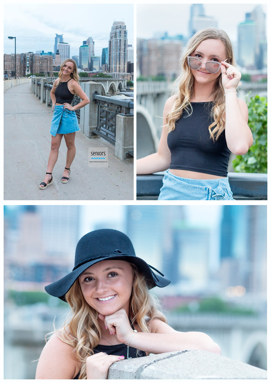 Girl getting her senior pictures done in Minneapolis with the skyline in the background