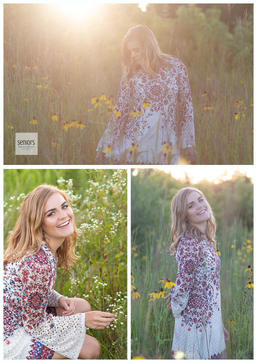 Senior girl getting her senior portraits taken in rural Minnesota