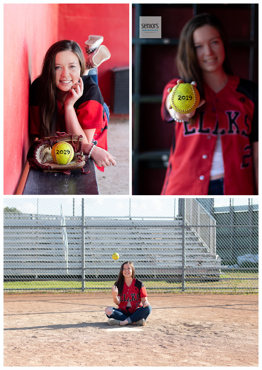Softball player getting senior photos taken in Elk River