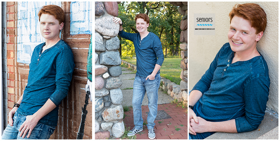 teenaged boy getting senior pictures done in downtown elk river