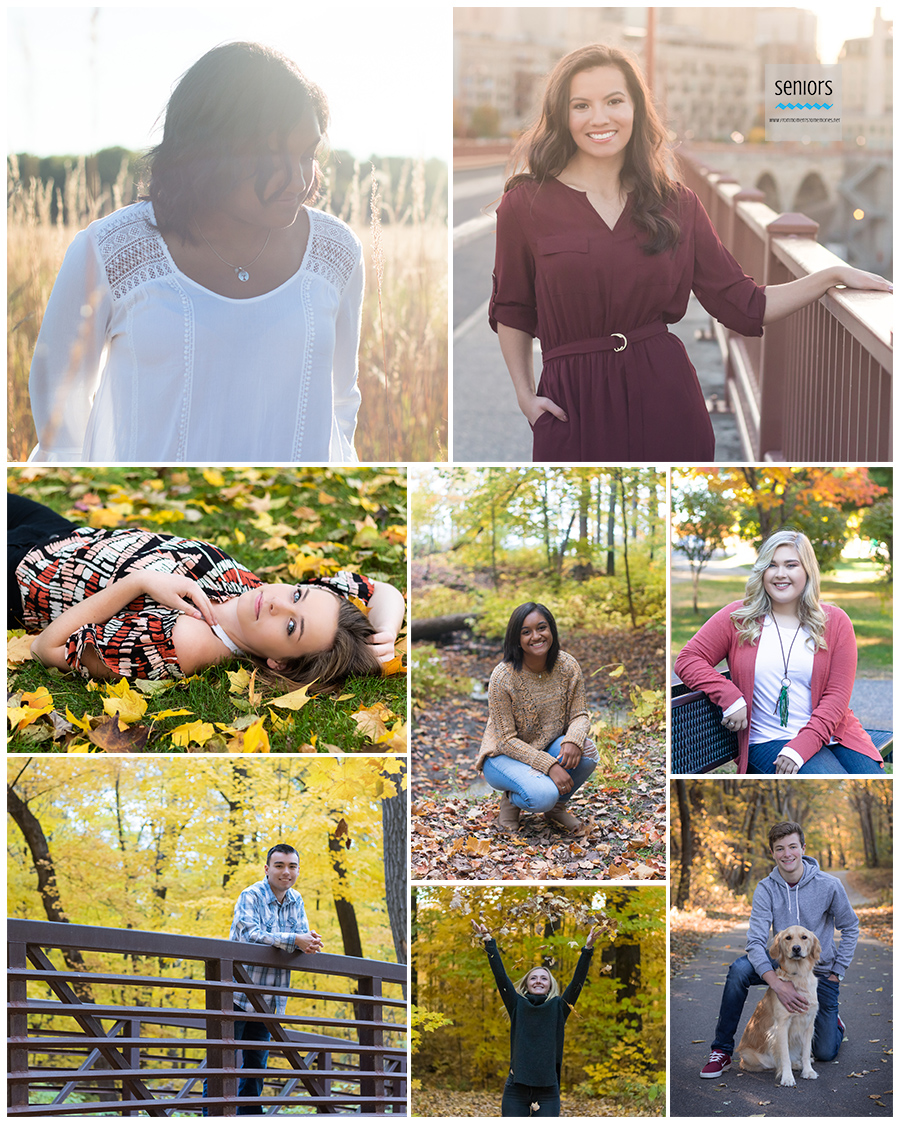teenagers getting their senior portraits taken in the fall in minnesota.