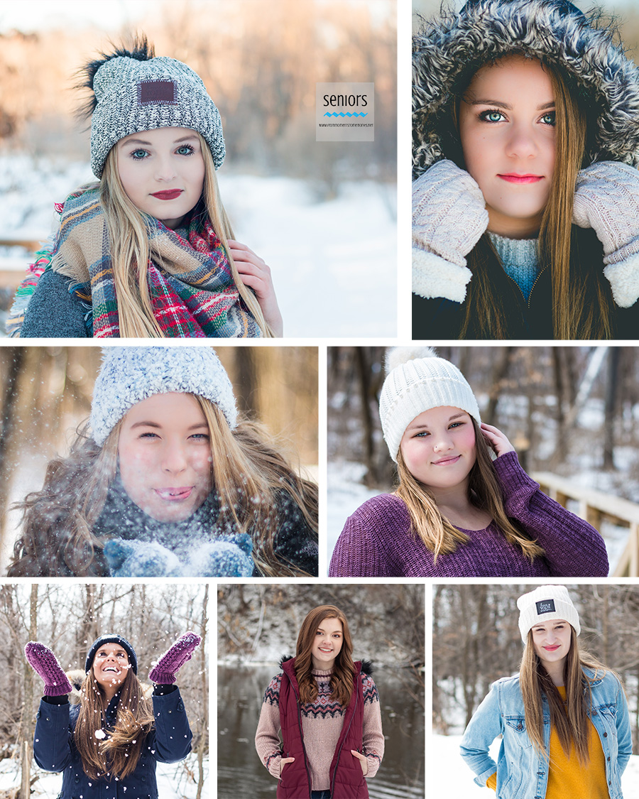 teenage girls getting their senior photos taken in winter, elk river, anoka, snow, minnesota