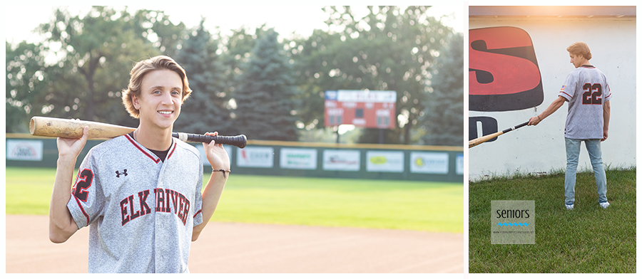 senior boy getting his baseball pictures taken at Hales Field in Elk River, Minnesota.
