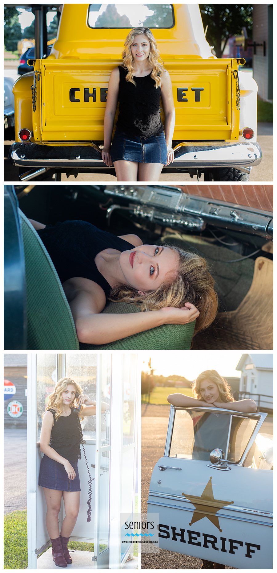 An STMA high school graduate having her senior photos taken in and around cars, trucks and a phone booth at Little Log House Pioneer Village, Hastings, Minnesota.