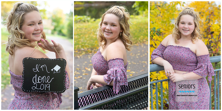 senior girl getting her portraits taken in downtown anoka along the rum river.