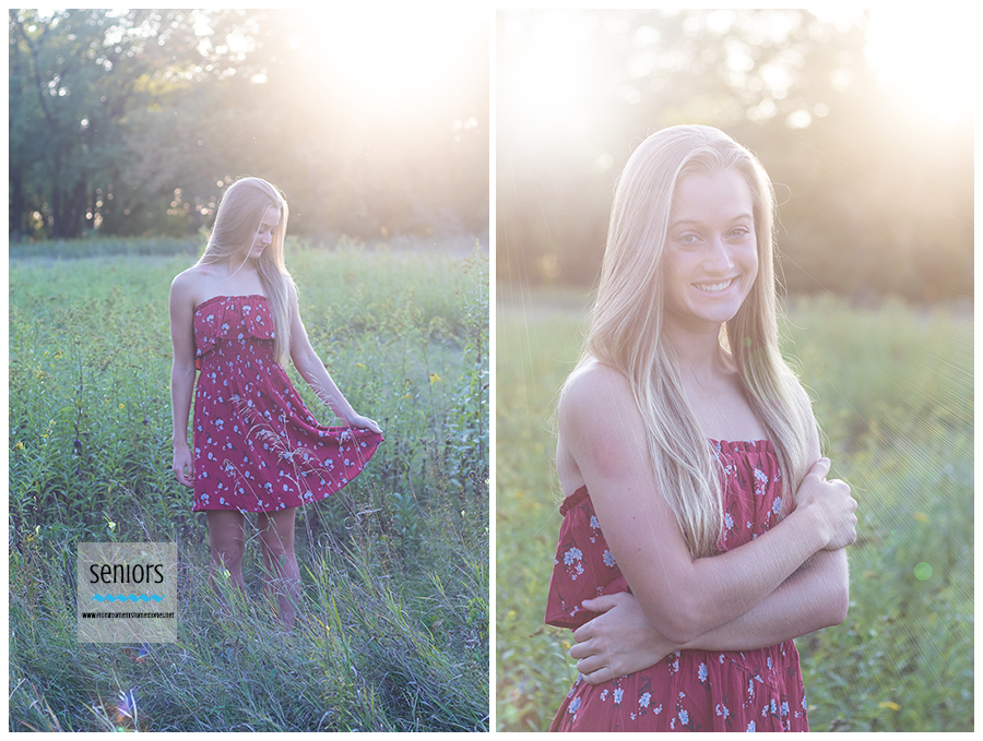 golden hour sunset senior portraits taken of a girl at bailey point park reserve in elk river, minnesota.