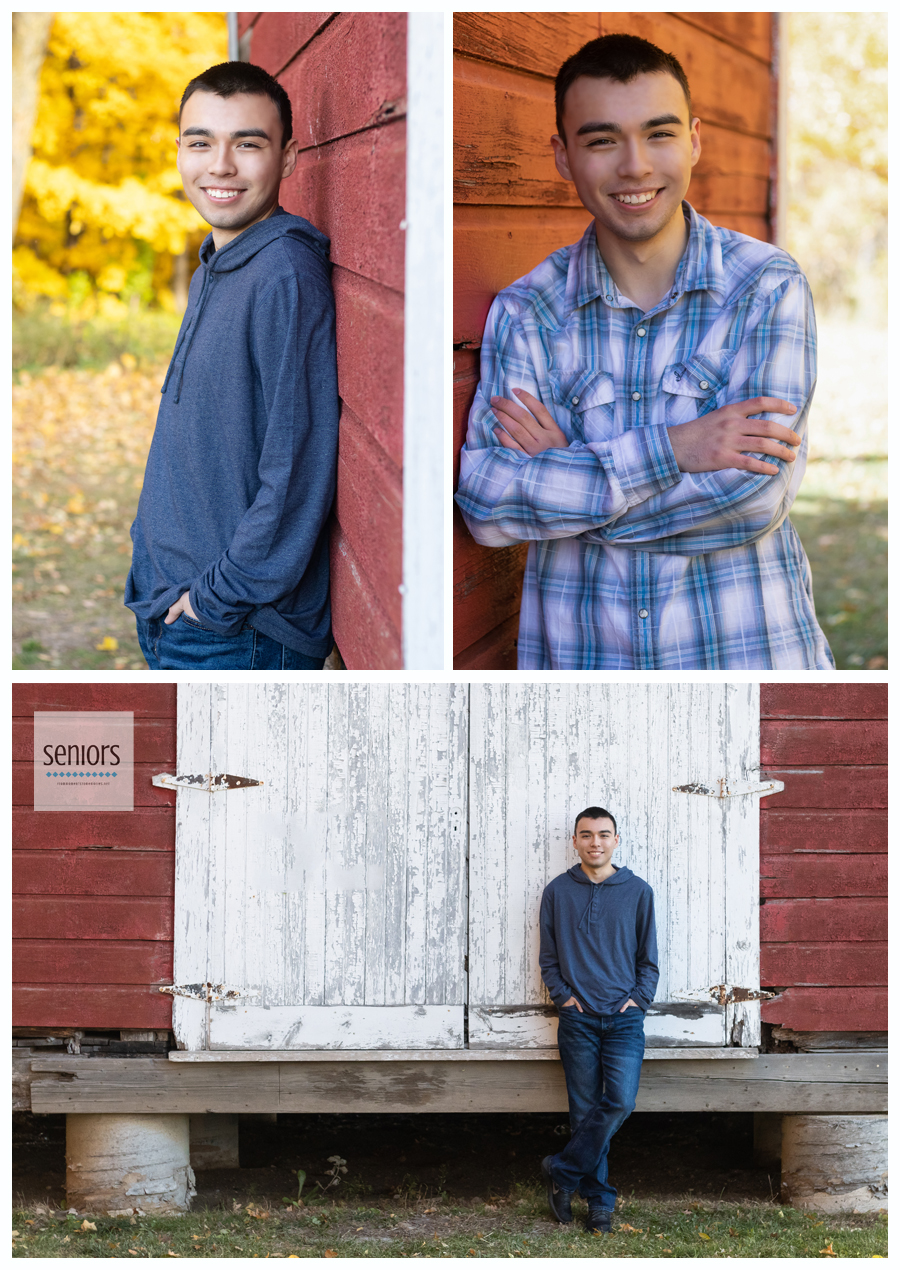 Rogers High School senior boy getting his photo taken in front of a barn at Henry's Woods Park in Rogers, Minnesota