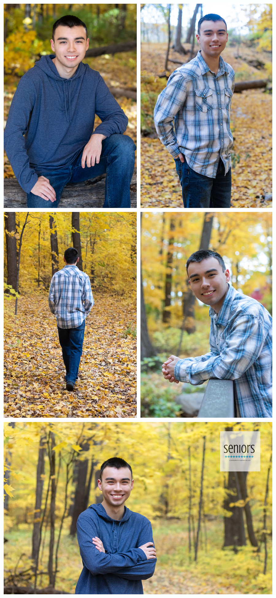 Rogers teenager having senior pictures taken at Henry's Woods Park in Rogers, Minnesota