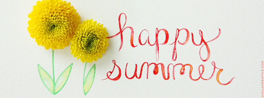 """Happy Summer"" Watercolor Facebook Cover Photo // Free Download"