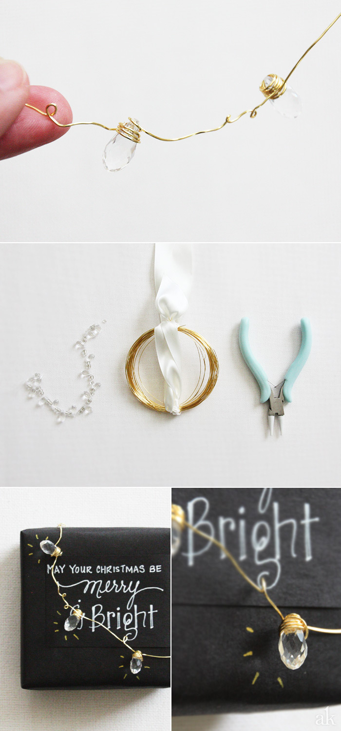Creative Holiday Packaging | Black, White, Gold | DIY Mini String of LIghts
