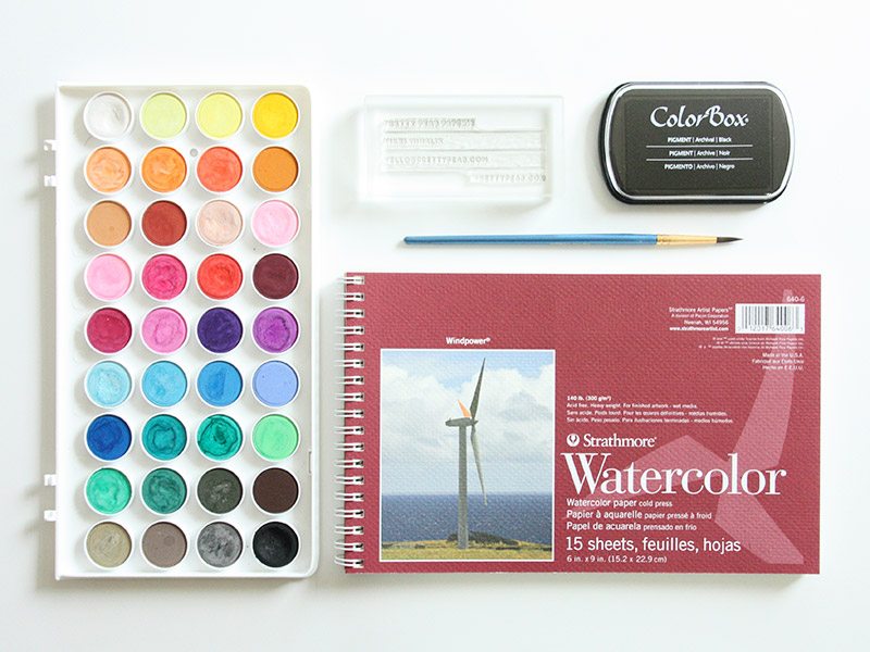 Supplies needed for DIY Stamped Watercolor Business Cards