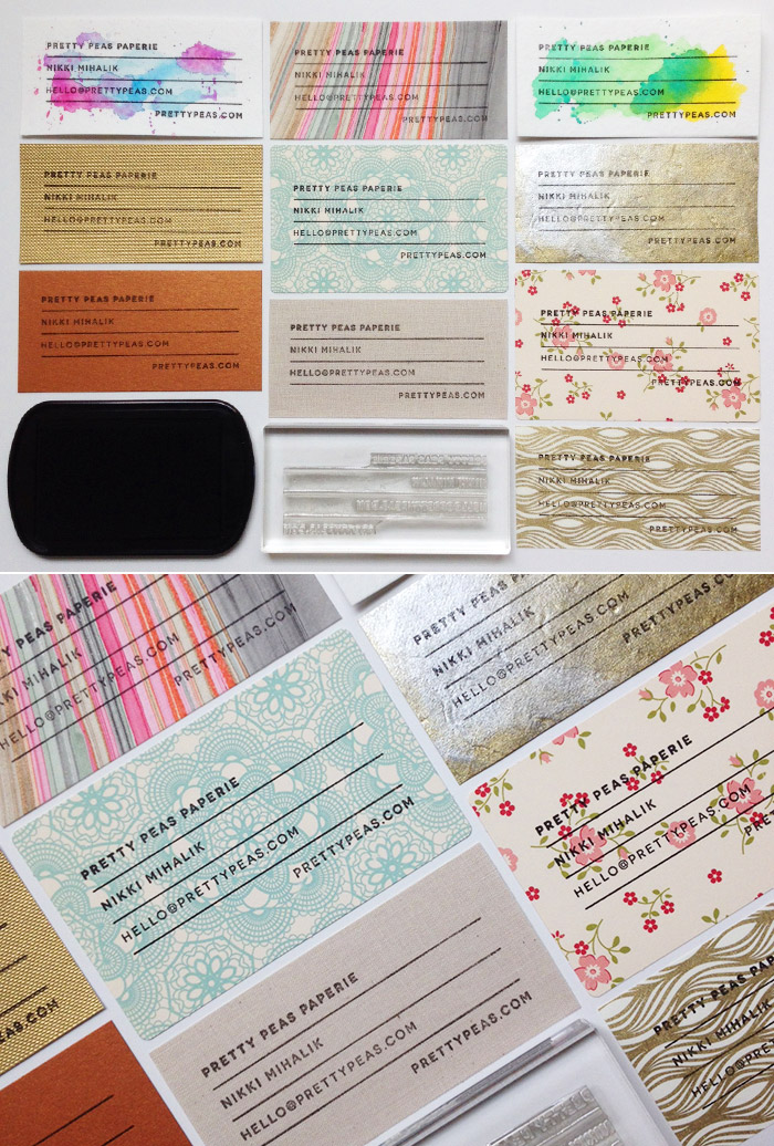 DIY Stamped Business Cards on a variety of papers