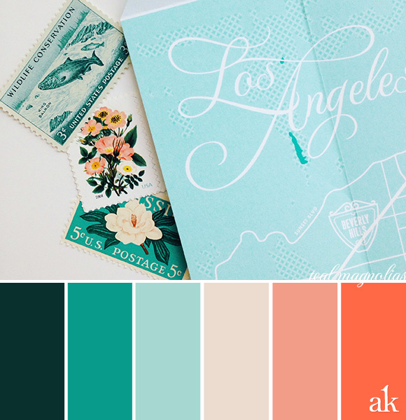 a map-inspired color palette // dark forest green, teal, light aqua, bone, poppy
