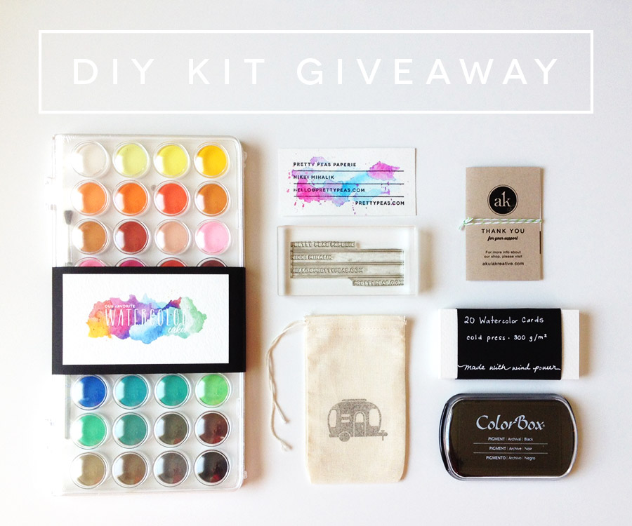 Giveaway | a DIY Watercolor Business Card Kit from Akula Kreative