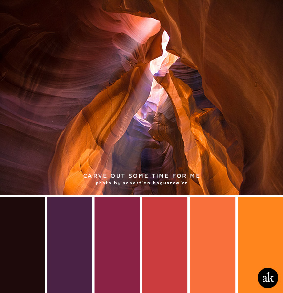 a sandstone-inspired color palette // black, purple, rosewood, passion fruit, papaya, pumpkin