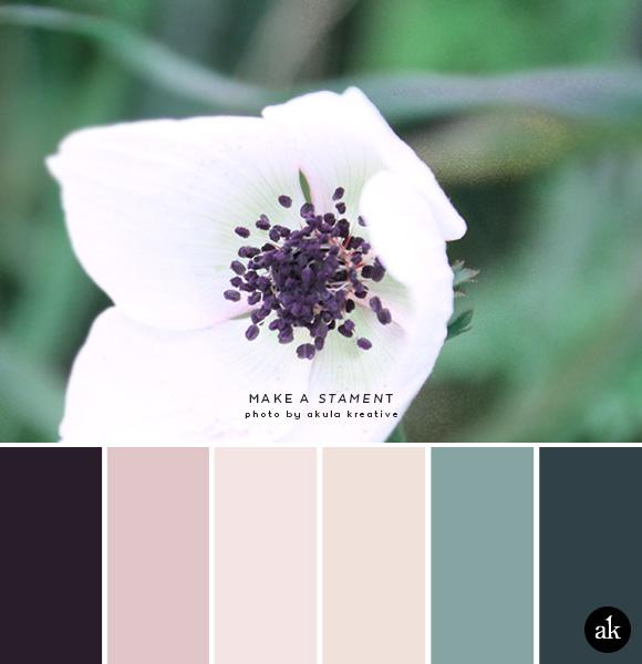 a stamen-inspired color palette // aubergine, blush, nude, eucalyptus, ming blue