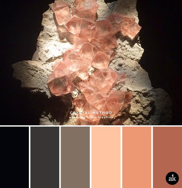 a fluorite-inspired color palette // black, gray, stone, peach