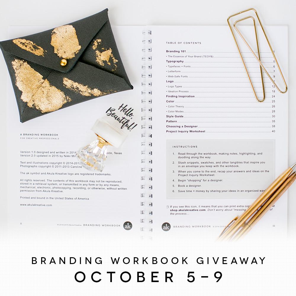 Branding Workbook for Creative Professionals | GIVEAWAY October 5-9, 2015