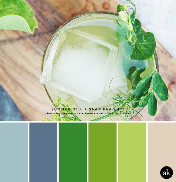 a dill-and-snap-pea-inspired color palette // blue, green  // photo and cocktail recipe by Jayme Henderson of Holly & Flora