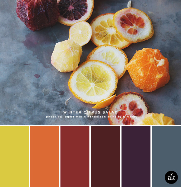 a winter-citrus-inspired color palette // lemon yellow, orange, blood orange, purple, gray // photo and salad recipe by Jayme Henderson of Holly & Flora