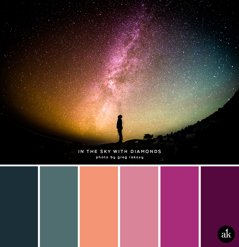 a starry-sky-inspired color palette // deep turquoise, peach, pink, magenta