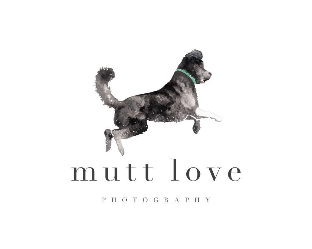 Custom Watercolor Dog Logo for Mutt Love Photography | akulakreative.com
