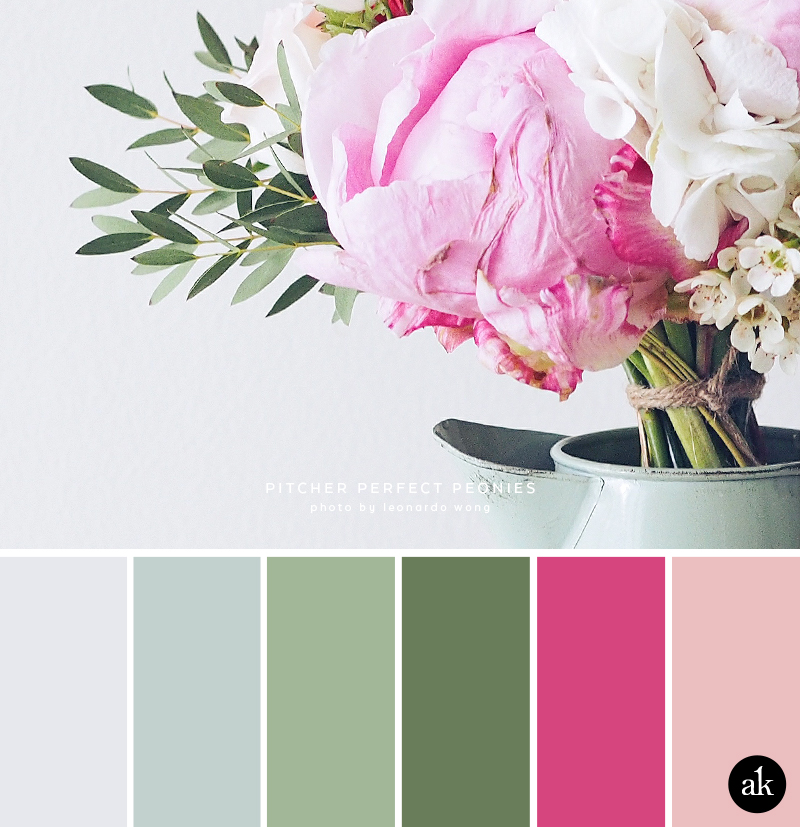 a peony-inspired color palette // light gray, pale blue, leaf green, fuchsia, pink