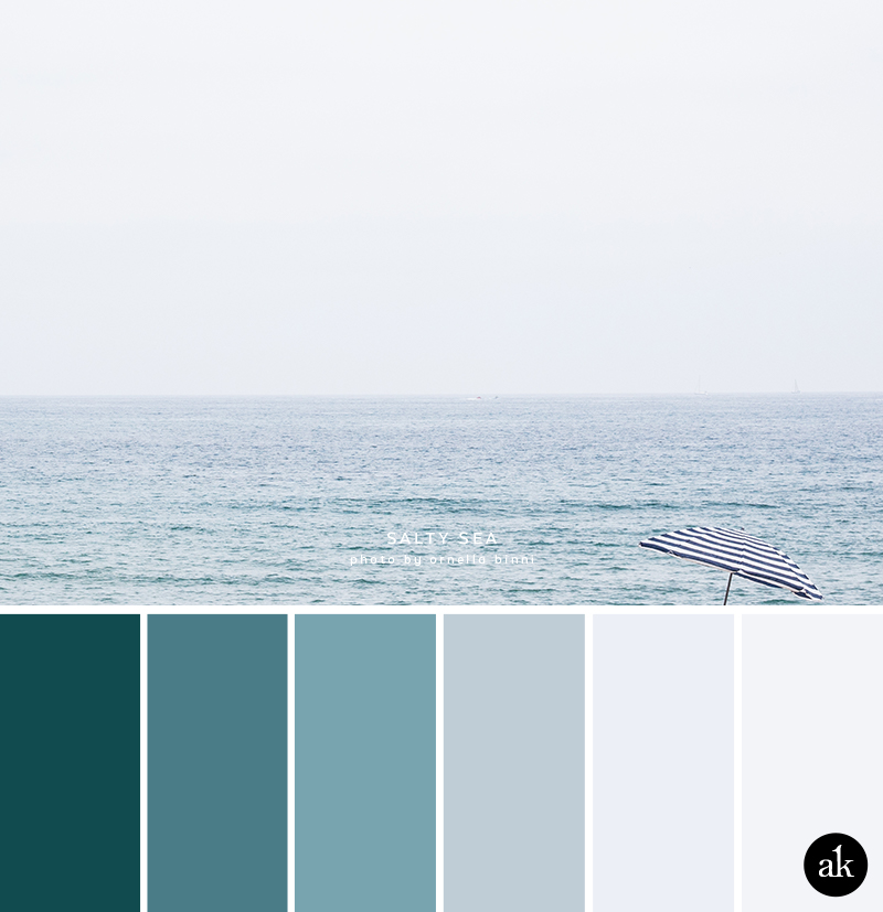 a salty-sea-inspired color palette // greenish-blues, light blue, gray, white