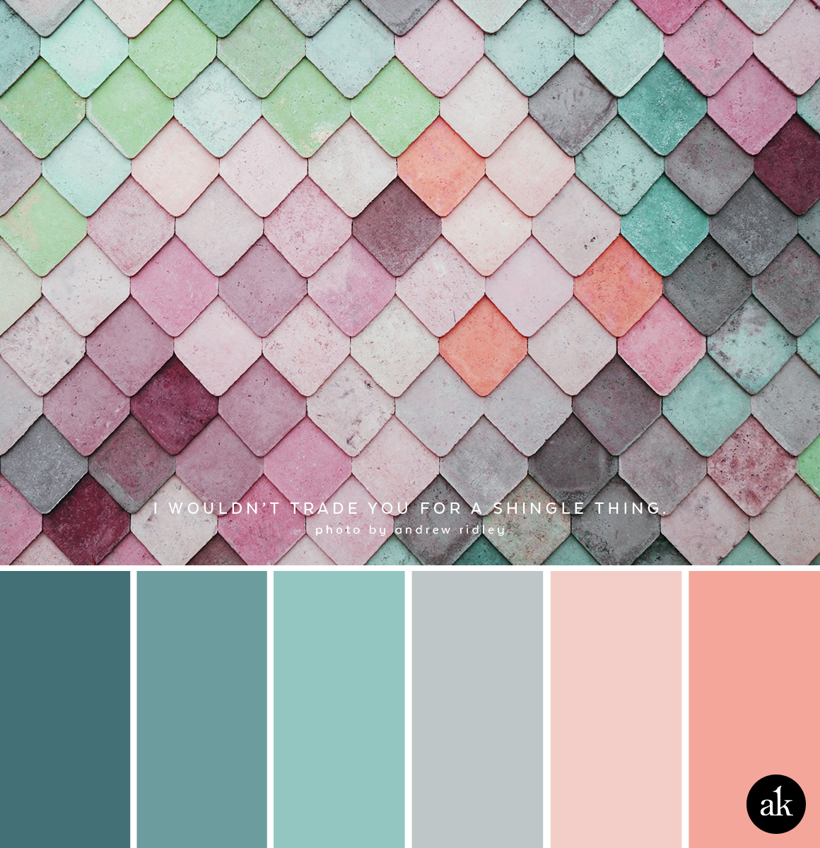 a rainbow-wall-inspired color palette // pastels, blue, aqua, gray, peach