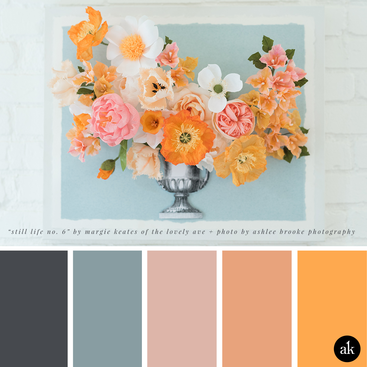 "a paper-still-life-inspired color palette // blue-gray, mauve, peach, orange // ""Samira"" Still Life No. 6 by The Lovely Ave // Photo by Ashlee Brooke Photography"