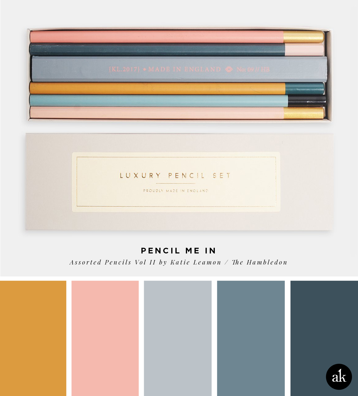 a pencil-inspired color palette // orange, blush pink, gray, blue // Assorted Pencils Vol II by Katie Leamon - The Hambledon