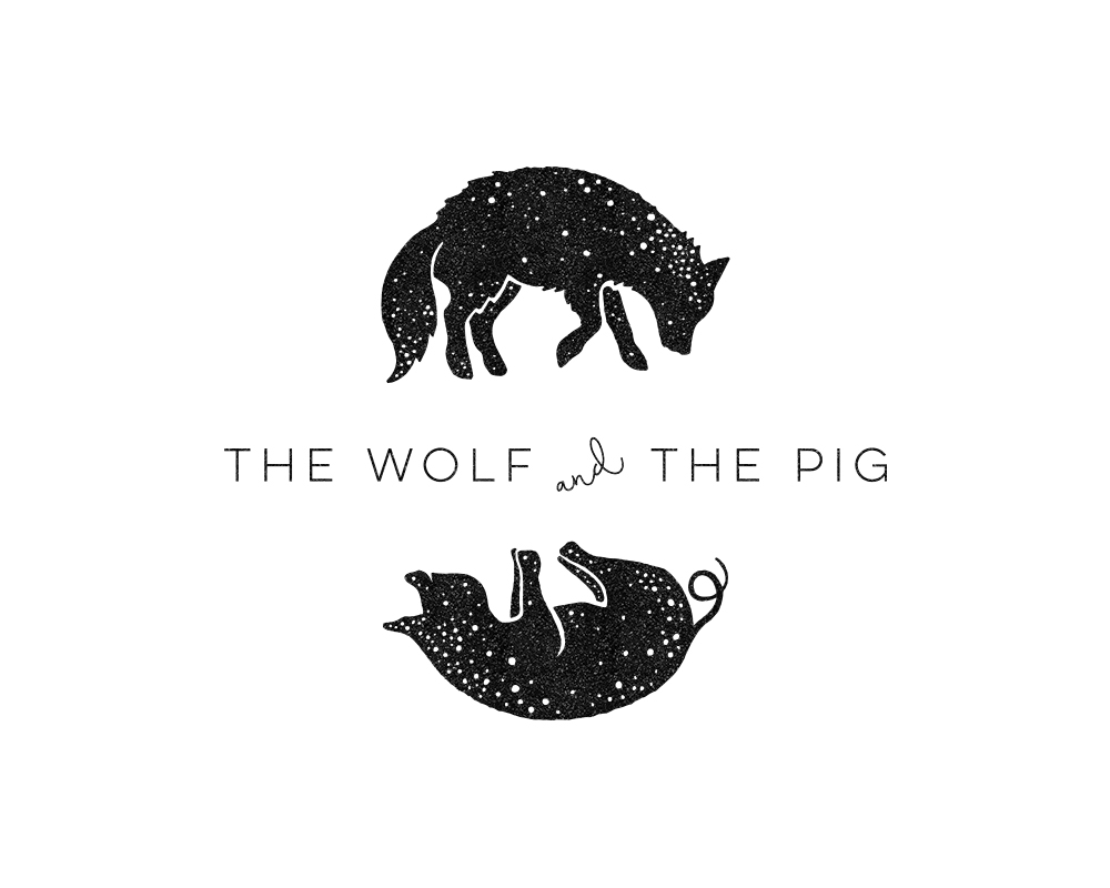 Custom, Hand Illustrated Animal Logo for The Wolf & The Pig | akulakreative.com