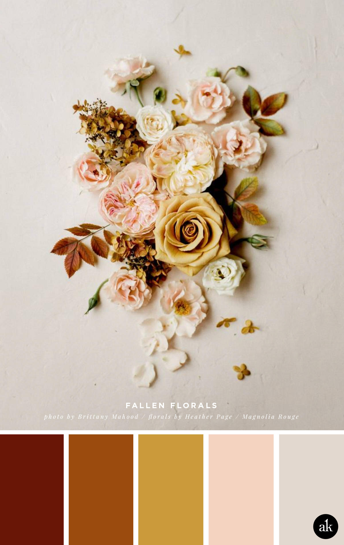 a floral-flat-lay-inspired color palette // burnt sienna, gold, peach, taupe // Magnolia Rouge