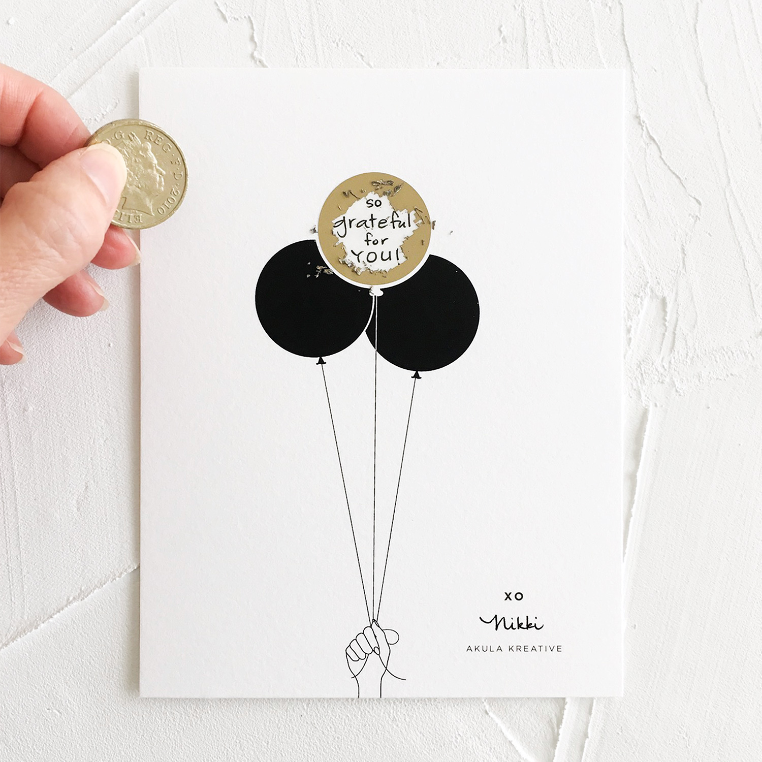 Free Printable | DIY Balloon Scratch-Off Sticker Card | akulakreative.com