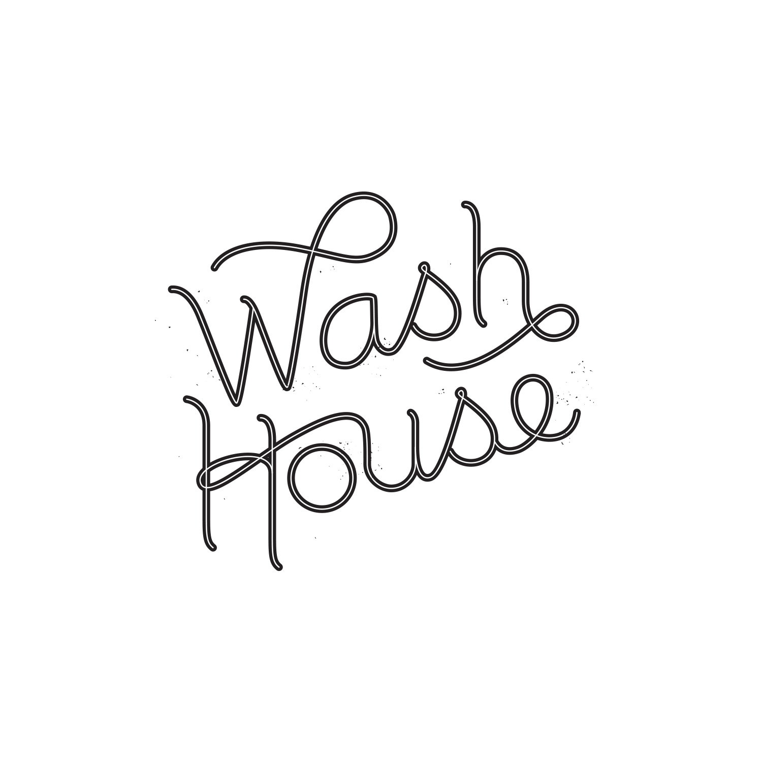 Hand-Lettered Word Mark Logo for Wash House by Akula Kreative